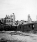 629th Wrecked train  buildings behind